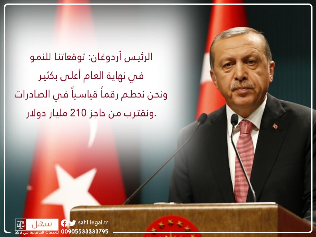 تصريح للرئيس أردوغان عن توقعات في النمو الاقتصادي لعام 2021...